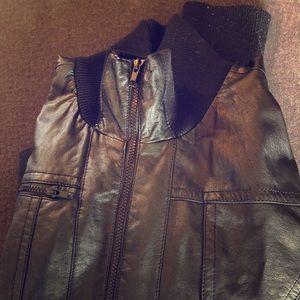 Xhilarition Faux Leather Bomber Jacket